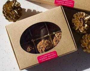 Box of 3 salted caramel & 3 hazelnut praline truffles at Sophie Sucree