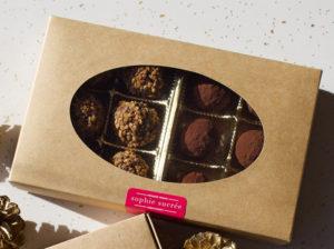 Box of 6 salted caramel & 6 hazelnut praline truffles at Sophie Sucree